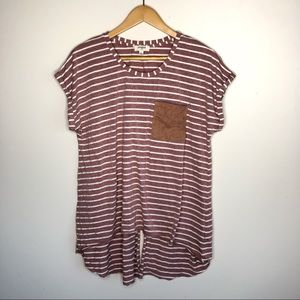 Umgee Striped Short Sleeve High Low Top Large